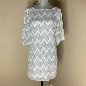 ALY &JAY Chevron Shift Flutter Sleeve Dress